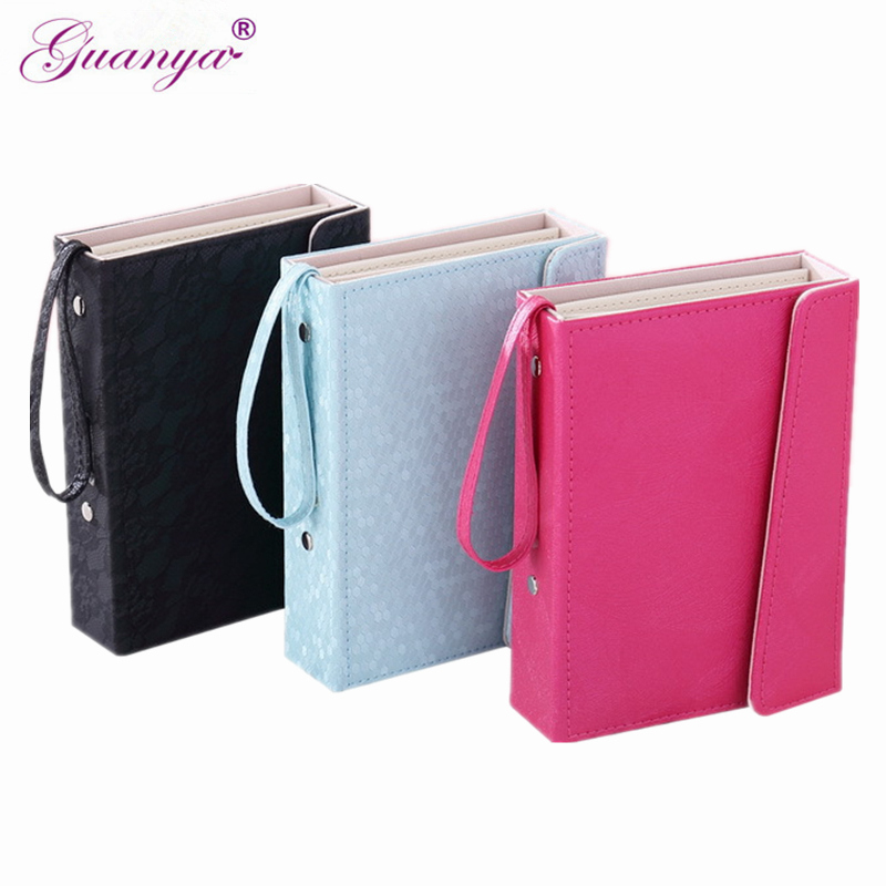 Guanya Brand Book shape Leather Jewelry Box makeup organizer earrings Stud Hooks Holder Collection Portable travel Case Gift