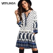 Casual Bohemian Beach Loose Women Summer Ethnic Dress Patterns Print Boho Mini Blouse Dress 3/4 Sleeve Hippie Female Vestidos