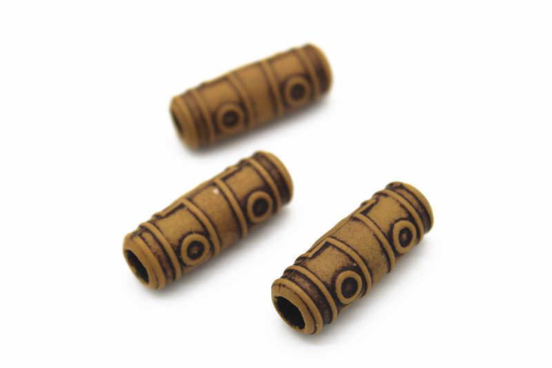 10 stücke Harz Haar Braid Furcht Dreadlock Perlen Manschetten Clips Nationalen Stil Holz Farbe ca. 4mm innen loch Haar zubehör