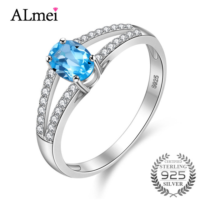 Almei Sky Blue Topaz 2 Row Bands Ring Birthstone Solitaire Ring Genuine 925 Sterling Silver Zircon-Jewelry with Box 40% CJ002