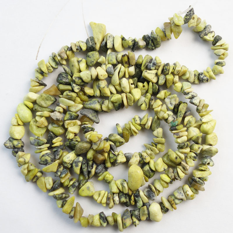 (Min. Order is $10) 1Strand 5-8mm Grass Yellow Howlite Freeform Chips Loose Bead 34 inch SHX1827(As Picture)
