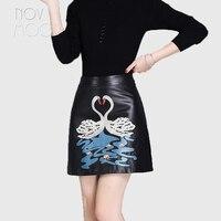 Swan embroidery black genuine leather real lambskin high waist mini A Line skirts jupe femme Faldas mujer etek clothes LT2047
