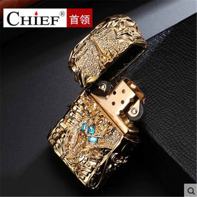 Pure Copper Lighter Men Gadgets WOW Kerosene Oil The Lich King Relief Lighter Kerosene Cigarette Accessories Retro Tobacco in Cigarette Accessories from Home Garden