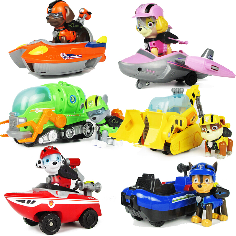 Paw Patrol Dog Sea Patrol Car Rescue Puppy Music Set Toy Patrulla Canina Action Character Marshall Ryder Model Toy Children Gift in Action Toy Figures from Toys Hobbies