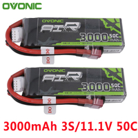 2PCS Ovonic 11.1V 3000mAh 50C 100C LiPo 3S Battery Pack with XT60 Deans Plug for Glider RC 3D plane 400mm X Sled Helicopter Quad