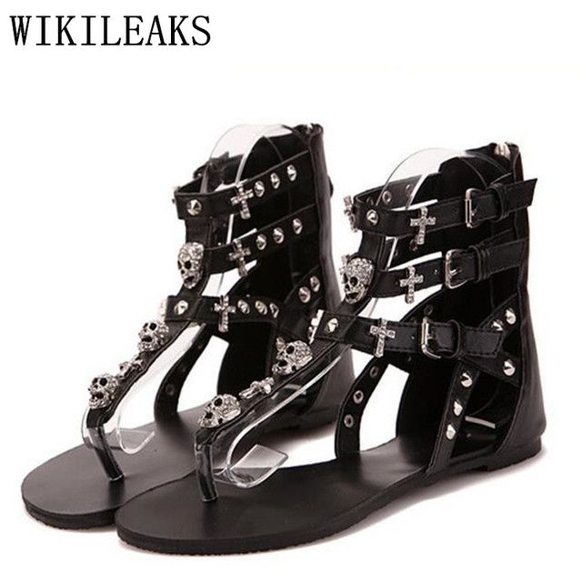 Ete 2019 Femmes Crâne De Pour Pantufas Femme Tongs Gladiateur Chaussures Cristal D'été Zapatos Sandales Sexy Mujer Sandalias CBderxoW