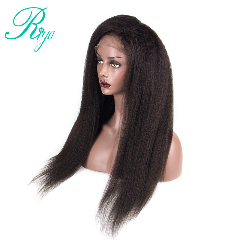 150% 360 Lace Frontal Wig Pre Plucked With Baby Hair Brazilian Kinky Straight Remy Lace Front Human Hair Wigs For Women Riya Hair Extensions & Wigs