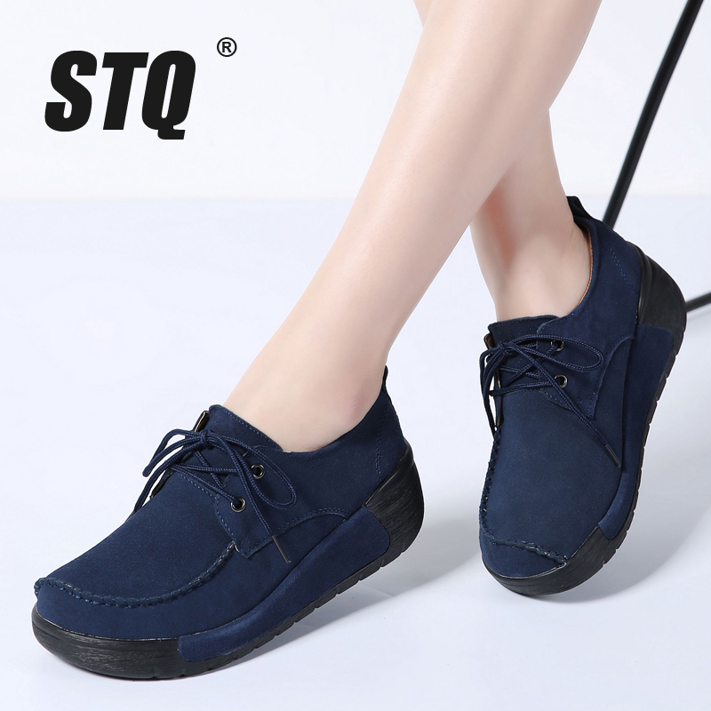 Stq 2019 Spring Women Flats Thick Heel High Platform Shoes Leather Suede Ladies Casual -2888