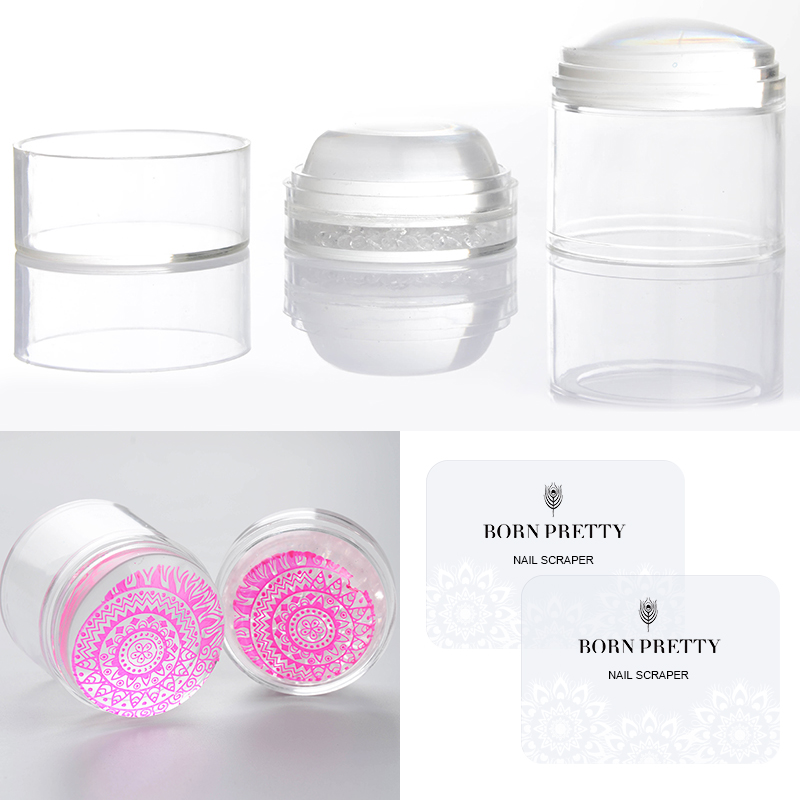 Dual XL Clear Jelly Stamper Silicone Head with Rhinestone Cap 2 Scrapers Stamping Nail Stamper Manicure