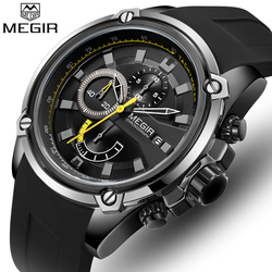 MEGIR Mens Watches Top Brand Luxury Men Casual Sport Quartz Watch Fashion Silicone Waterproof Wrist Watch Relogio Masculino