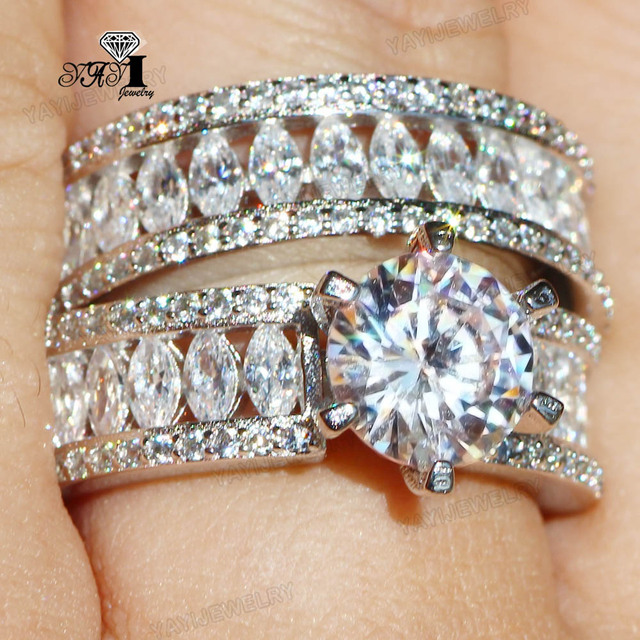 2 pcs YaYI Jewelry Princess Cut 6.9 CT White Zircon Silver Color Engagement Ring