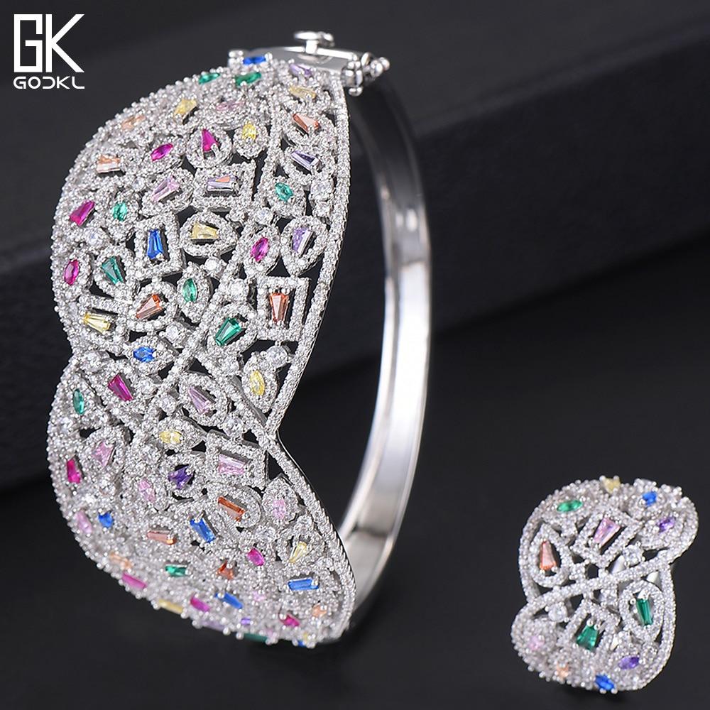 GODKI Luxury Cubic Zircon Crystal CZ Jewelry Sets For Women Wedding African Bridal Bangle Ring Set