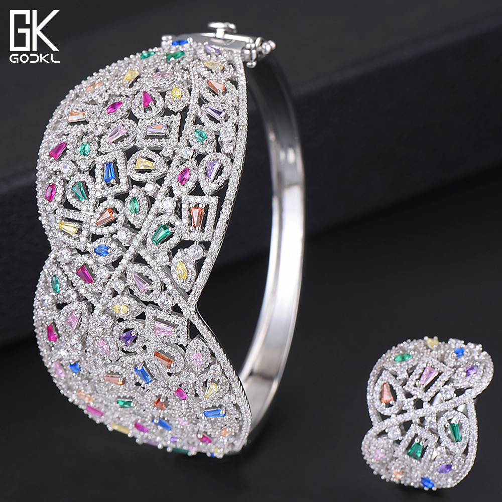 GODKI Luxury Cubic Zircon Crystal CZ Jewelry Sets For Women Wedding African Bridal Bangle Ring Set aretes de mujer modernos 2018-in Jewelry Sets from Jewelry & Accessories    1