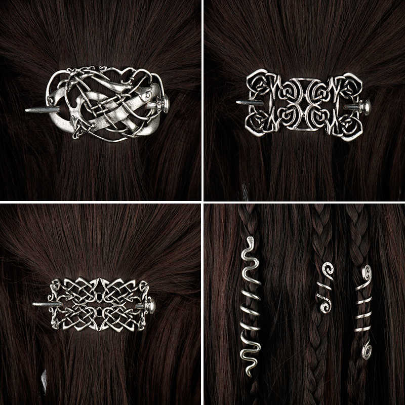 Vintage Celtics Knots Viking Runes Double Heads Hairpin Hair Clips Stick Slide Braid Hair Accessories For Women Girl Jewelry-15
