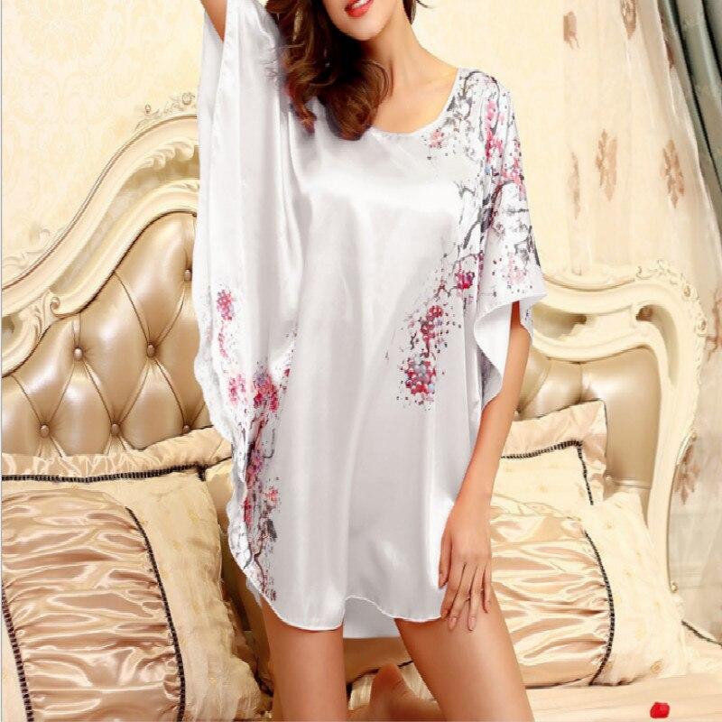 Nightgowns Sleepshirts 2018 Plus Size Silk Lady Sleepwear Dressing Gown Female Home Brand Bathrobe