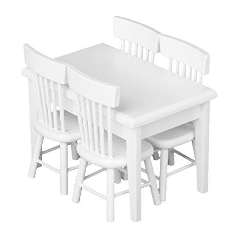 LeadingStar 5pcs White Dining Table Chair Model Set 1:12 Dollhouse Miniature Furniture Great Children Gift Zk25