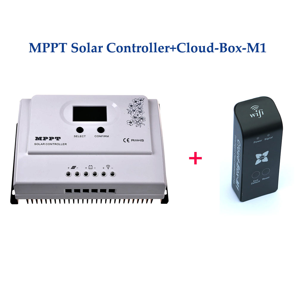 15A MPPT Solar Charge Controller 12V/24VDC Auto With LCD Display Max PV Input 100V + Cloud-Box-M1 use For MPPT Solar Charger 10a mppt solar charge controller remote meter mt50 epever battery regulator 100v pv input 12v 24vdc auto with lcd display