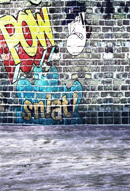 photography background for photo studio vinyl computer Printing cloth backdrops graffiti brick wall 150X220cm customized C0781 150x220cm free shipping vinyl cloth photography backdrops wooden newborn computer printing background for photo studio cm6723