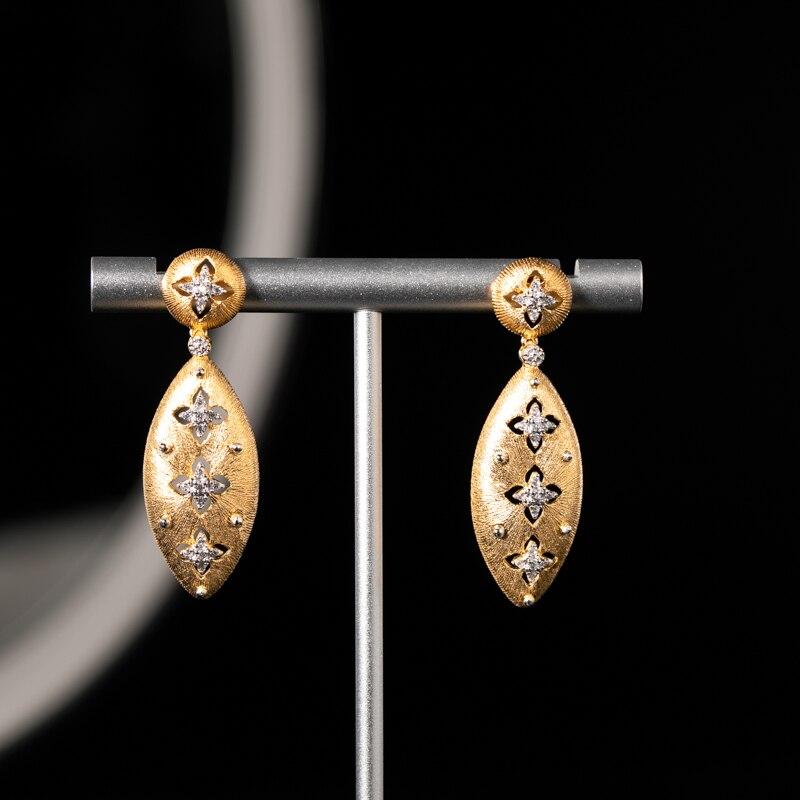 925 argent Zircon boucle d'oreille goujon bijoux femmes cour européenne style vintage
