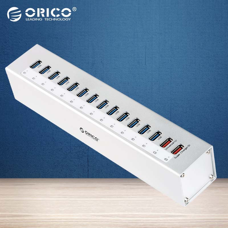 Prix pour ORICO Aluminium 13 Ports Multi USB3.0 HUB Splitter avec 5V2. 4A/5V1A Chargeur Ports avec Pi USB3.0 Câble-argent (A3H13P2)