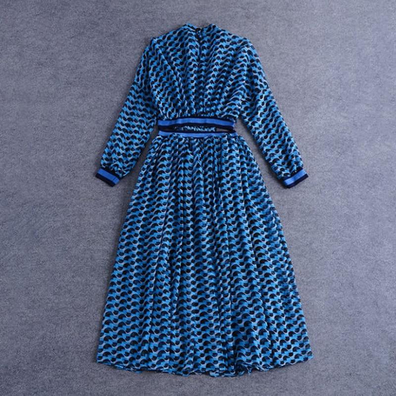 Printed Taille Piste mollet Imprimé Manches B151 Ouvert Montant Femmes Printemps Été 2018 3 Mi Robe Col Robes Sexy Ventre 4 zTHFxq