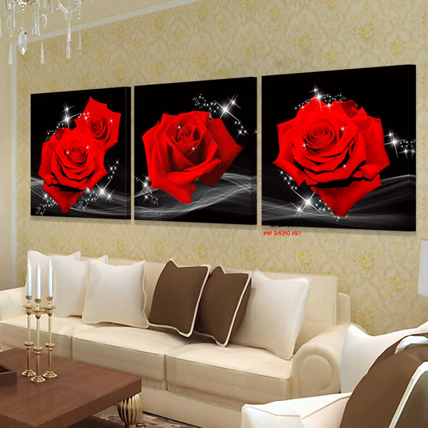 modern decoration paintings wall art pictures for living room Print On Canvas oil painting home Red rose Flower picture no Frame