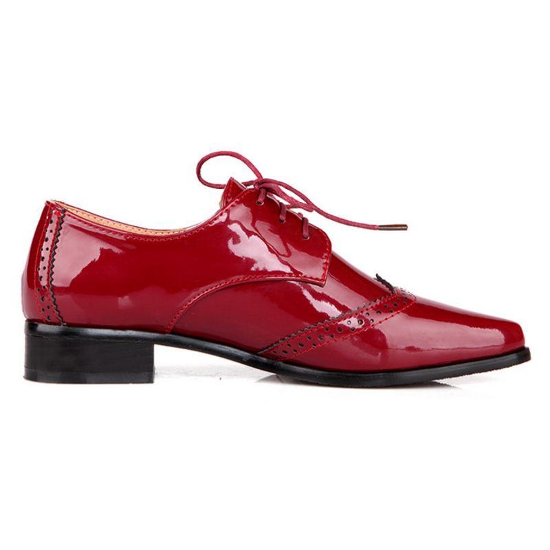 Femmes Bout Bureau bleu Richelieu Chaussures 34 Taille vin Kemekiss Lacent Cuir Verni Casual D'affaires Appartements Rouge Pointu 43 En Noir TIPwxqdR