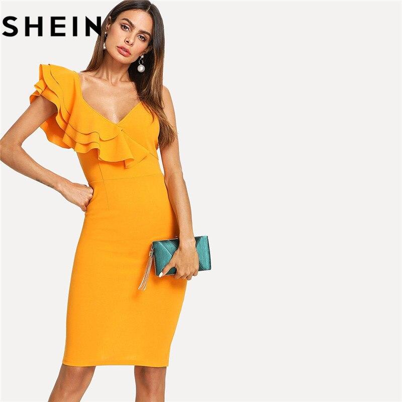 SHEIN Sleeveless Ruffle Layered Flounce Trim Split Back V Neck Party Bodycon <font><b>Dress</b></font> Women Summer Knee Length Slim Pencil <font><b>Dress</b></font>
