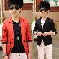 2016 Boys Korean Formal Blazer Suit Long Sleeve Cotton Gentleman For Wedding Black Jacket Outwear Menino Clothes 4T 15 Wholesale