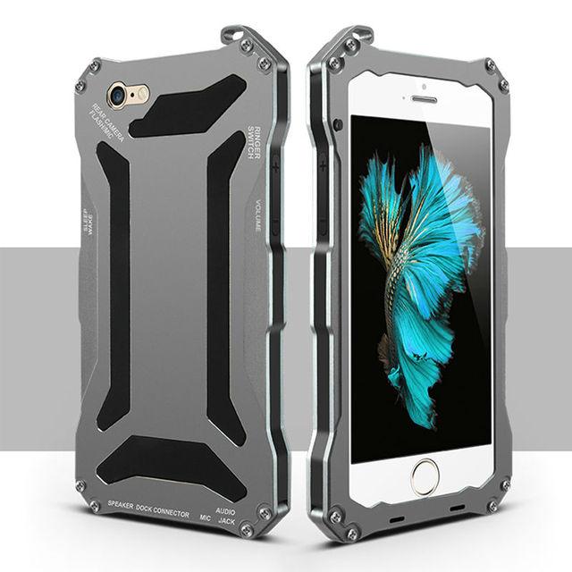Robusto armadura resistente à prova de choque de alumínio metal case para iphone 5 5s se 6 s 6 s 7 mais tampa do telefone coque capinha com vidro temperado