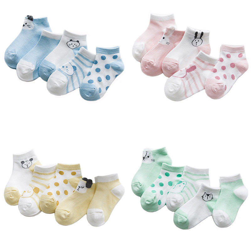 5pairs Cotton Newborn Socks Cute Cartoon Animal Socks for Boys Girls Striped Thin Mesh Summer Baby Short Sock Cheap Stuff