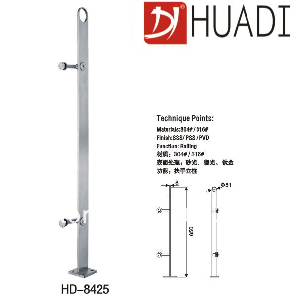SUS304/316 grade stainless steel post for balcony/stair railing