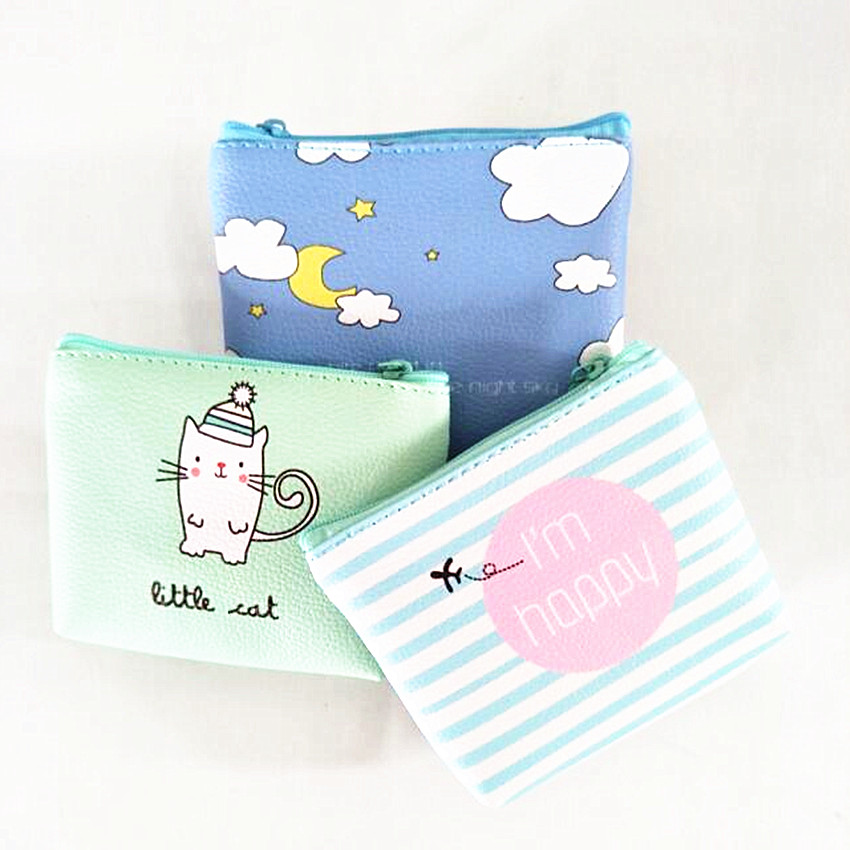 M224 2017 Creative Women Purses Cartoon Small Fresh Summer Party Banana Cat Headset Line Coin Purse Card Bag 12 Styles Designs kawaii fresh summer fruits banana
