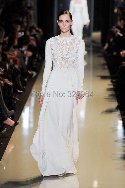 f100b7d96d6 White O-neck A-line Chiffon Long Sleeve Evening Dresses Elie Saab with Lace  Applique Formal Gown