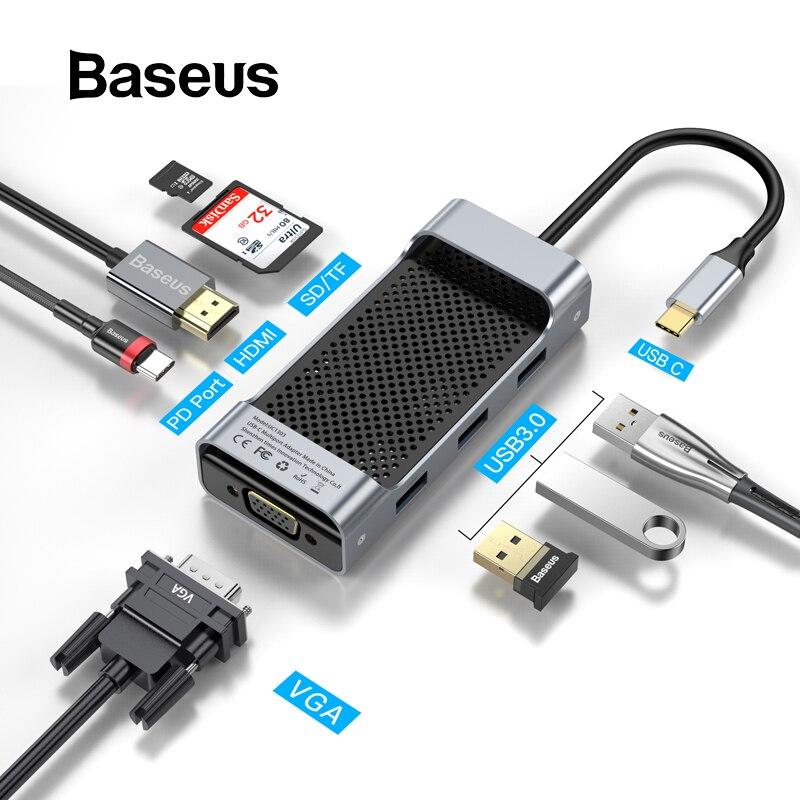 Moyeu de USB C Baseus vers USB 3.0 moyeu HDMI RJ45 VGA répartiteur USB pour MacBook Pro/moyeu de Type C pour Huawei Mate 20 Pro Samsung S9 S10