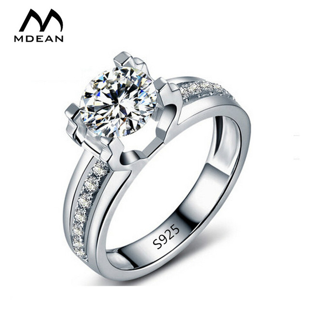 MDEAN White Gold Color Round AAA Zircon Classic Style Engagement