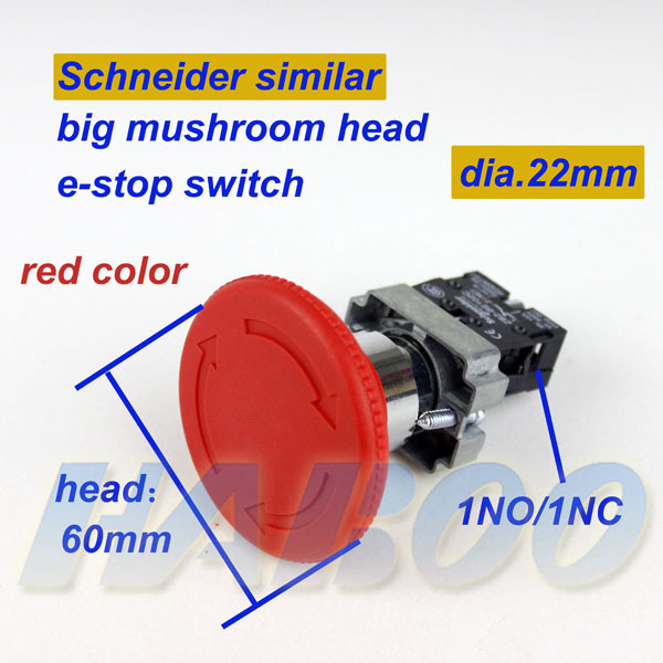 5pcs/lot dia.22 press to lock turn to reset <font><b>60mm</b></font> head big mushroom head emergency stop push <font><b>button</b></font> switch 1NO/1NC image