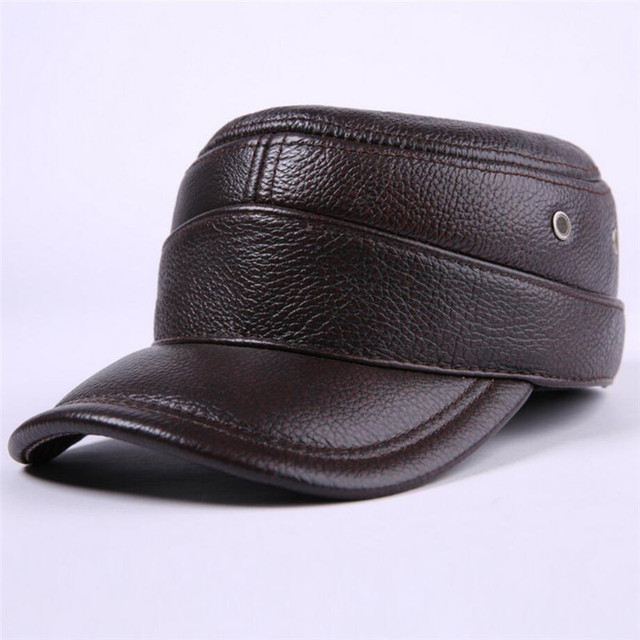 2016 New Mens Outdoors Casual Genuine Leather Flat Peak Baseball Cap Male Hip Hop Hats For Men Vintage Winter Warm Caps