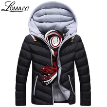LOMAIYI NEW Mens Winter Parkas Fashion Cotton Hooded Jacket Men Casual Windproof Warm Padded Coat Men's Wadded Windbreaker,BM054