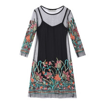 Summer Mini Dress Flower Embroidered Plus Size Lace Dress 2018 New Black White Mesh Chic Two-piece Women Beach Party Dress fashionable two piece cotton vest style dress black white size m