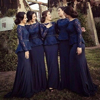 BONJEAN Dark Navy Mermaid Bridesmaid Dresses 2019 Bateau Neck Vestido Madrinha Long Sleeves Muslim Prom Dresses Bridesmaid Gown