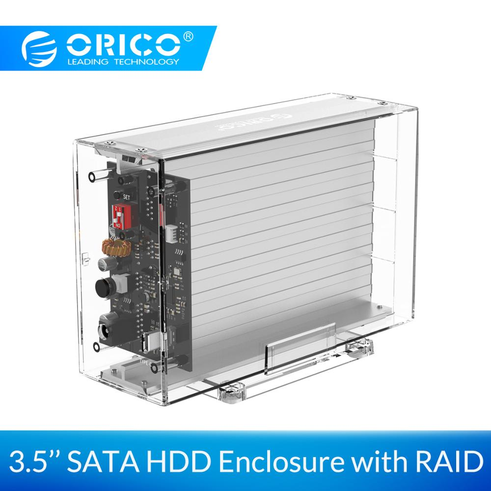 ORICO 3.5'' Dual Hard Drive Enclosure With RAID 0 1 PM SPAN Transparent SATA HDD Case With 24TB Capacity For Windows/Mac/Linux