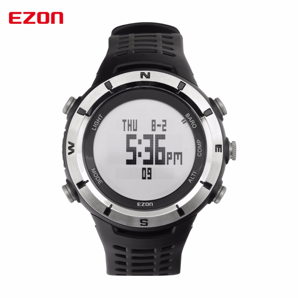 EZON Men Digital Watches Outdoor Watch Clock Weather Altimeter Barometer Thermometer Compass Altitude Climbing Hiking Hours 8 in 1 digital lcd compass altimeter barometer thermo temperature clock calendar for outdoor hiking fishing
