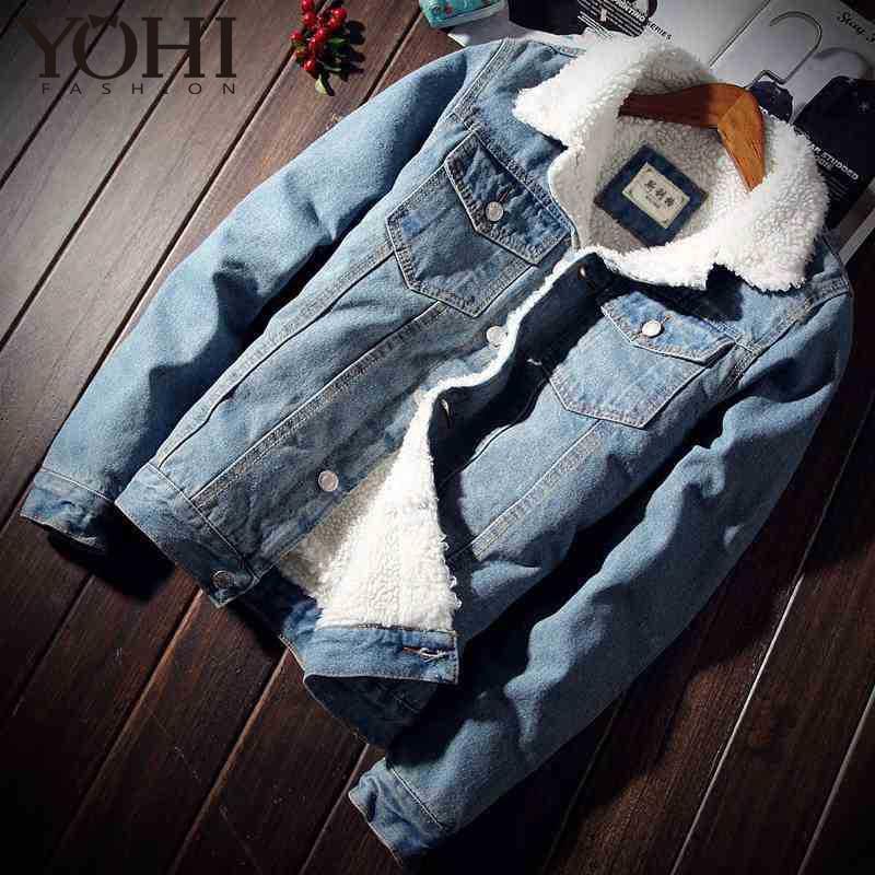 2018 Winter Warme Fleece Denim Mode Herren Jean Männer Mantel Trendy Outwear Männlichen Cowboy Kleidung Homme S-4xl