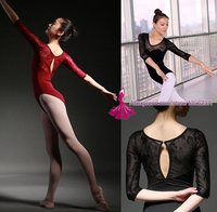 3 4 Sleeve Red Dancewear Ballet Leotard Lace Adult Ballet Young Girl Ballet Dance Clothes Ballet