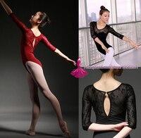 3 4 Sleeve Red Dancewear Ballet Leotard Lace Adult Ballet Young Girl Ballet Dance Clothes Ballet