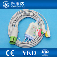 One piece 17Pin 3leads ECG cable and leadwires with clip for Spacelabs,IEC,CE&ISO13485