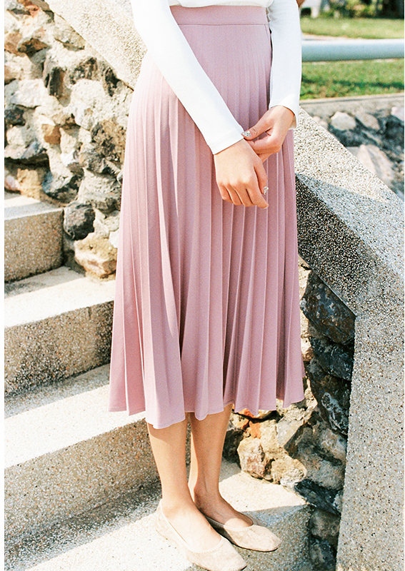 A-Line Pink Gray Black Pleated Skirt 6