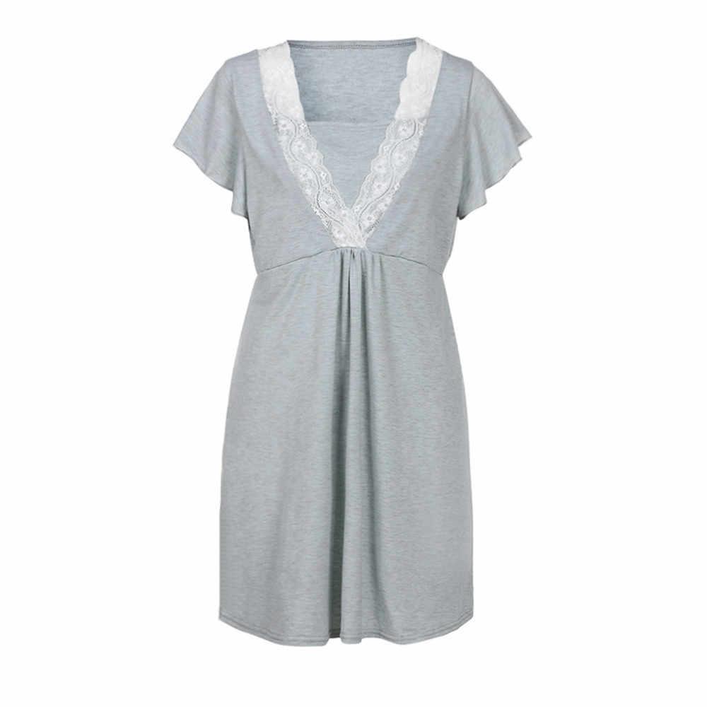 maternity dresses nursing dress Womens Mother Lace Pregnants Casual Nursing Baby For Maternity Pajamas Plus Size Dress 0829