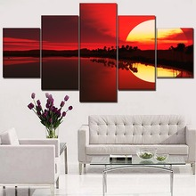 Wall Art Home Decor Framework Canvas Painting 5 Pcs Sunset Lake Reflection Red Landscape Picture For Living Room HD Print Poster цена